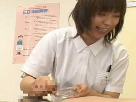 精液検査で黙々手コキする看護婦!皿で受け止めるはずが飛び越える発射「元気ですね!」