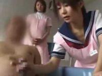 入浴介助手コキ「ちゃんと声かけてあげて!」厳しい指導の下無事に発射させる研修生
