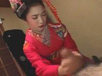 舞子さんに罰ゲームフェラで口内発射「堪忍しとくれやす..」2本目を握らせ手コキ発射