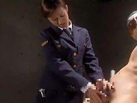 囚人に罰手コキ「小さいおちんちん..」警棒で突いてちんぐり返し手コキ自ぶっかけ【松田亜美】