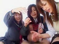 制服娘3人組のいたずら足コキ!亀頭と竿と玉を分担刺激で勃起させるとシコシコして発射