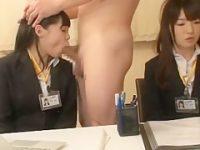 会議中にいたずらフェラチオ!話しを聞きながらしゃぶる女子社員の制服に大量ぶっかけ