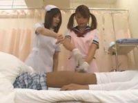 チ〇ポ洗浄実習で手コキ発射!先輩看護婦の指示通りカリをネジネジすると飛び出す精子